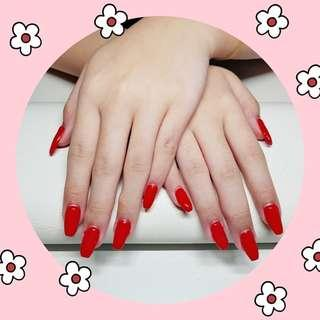 Red nails w Nail Tip Gel Extensions!