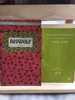 2 Books-Beowulf, unabridged and King Lear (Shakespeare)
