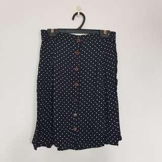 🌻FREE NM🌻 Brand New Polka Dot Button Down Flowy Skirt With Elastic Waist