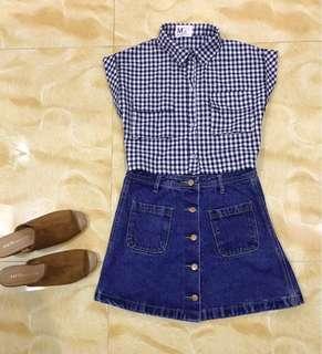 SET! Crop Checkered Button Down top & Denim High Waist Skirt