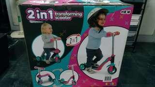 🚚 天生拍賣_二合一兒童三輪滑板車