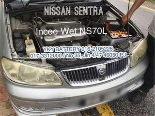 Kereta Bateri Nissan Sentra , Incoe Wet NS70L
