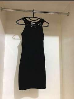 Pull & Bear black studded halter bodycon dress