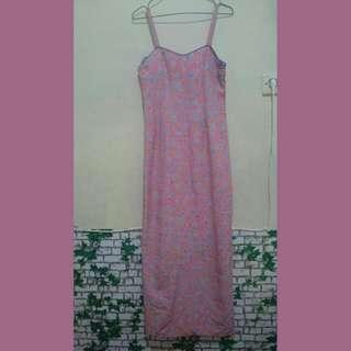 Dress panjang motif bunga dress tali you can see