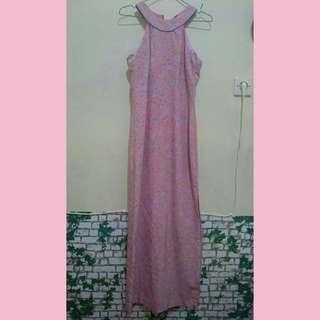 Dress panjang motif bunga dress kerah