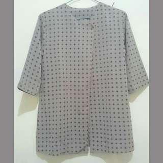 Blus blouse kerja coklat motif