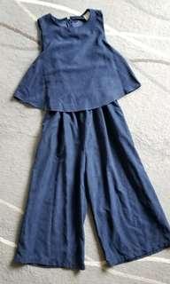 藍色 仿絨 假兩件裙褲 有型 !肥咗唔啱著!