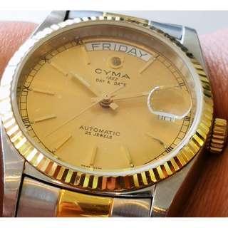 Swiss Made CYMA Automatic Mechanical Watch (瑞士製司馬自動機械錶)