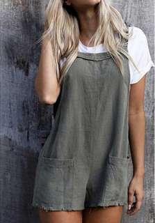 Grey/Khaki Linen Overalls