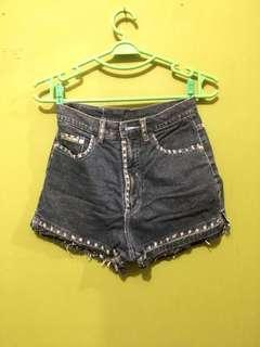 Black denim highwaist shorts