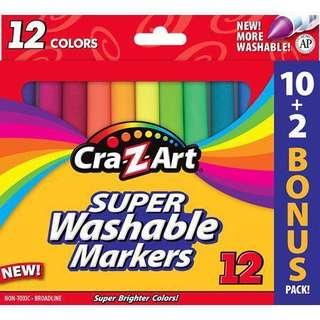 美國進口Cra-Z-Art 可水洗彩筆 Washable Markers Pen 10送2 優惠裝 總共12支