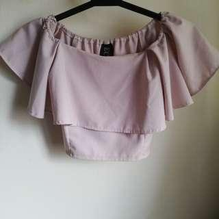 Cropped Off-Shoulder Ruffled Top