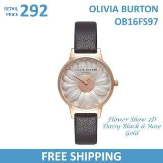 Olivia Burton Ladies Watch Flower Show 3D Daisy Black & Rose Gold OB16FS97