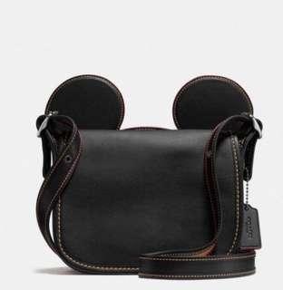 二手9.5新【COACH】MICKEY 迪士尼限量聯名款大耳朵全皮革斜背包(黑色)