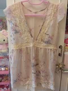 Japan淡粉色雪紡top~包郵