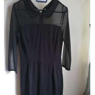 Collar Dress with Translucent Sleeves #payday30