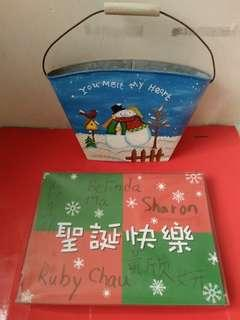 A box of Christmas cards & Metal handle letter box $15for2