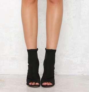 billini giselle heels ankle sock boots in black lyrca w peep toe
