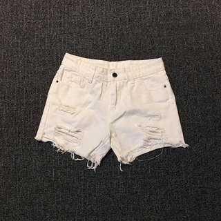 Bangkok white ripped shorts