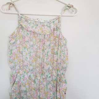 🌻FREE NM🌻 H&M Kids Girls Sleeveless Pastel Floral Jumpsuit