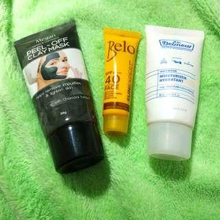 Clay mask + sunblock + moisturizer bundle