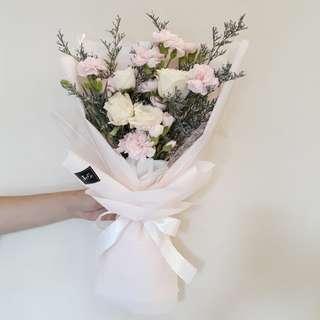 White Roses and Carnation Fresh Flower Bouquet buket bunga segar