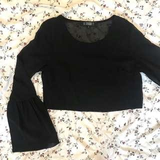 sheer bell sleeve crop