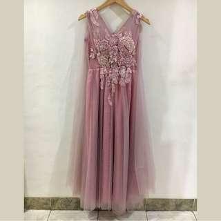 Baju Pesta Dress Panjang Party Sister Long Gown Dusty Pink Model 4 Free Size