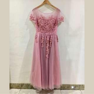 Baju Pesta Dress Panjang Party Sister Long Gown Dusty Pink Model 3 Free Size