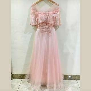 Baju Pesta Dress Panjang Sabrina Party Sister Long Gown Pink Model 2 Free Size