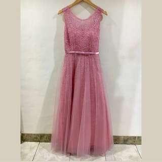 Baju Pesta Dress Panjang Party Sister Long Gown Dusty Pink Elegant Model 1 Free Size