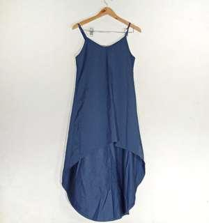 Long Back Dress formal Events Sleeveless Blue