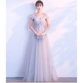 Gown Collection - Elegant Sweet Embroidered Lace V Neck Gown