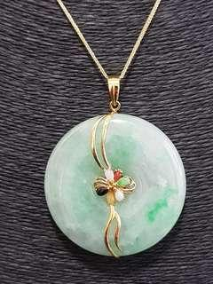 🚚 Spectacular Jade Coin with 18K Yellow Gold and Multi Coloured Jade stones