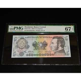 2010 HONDURAS 5 LEMPIRAS BC 3016158 PMG 67 EPQ SUPERB GEM UNC
