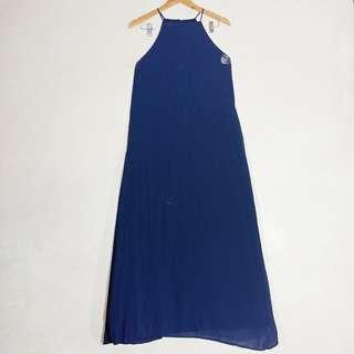 Anne Curtis Style Long Dress Blue Halterneck Dress Long Gown Georgette. Wedding Dress Party Dress