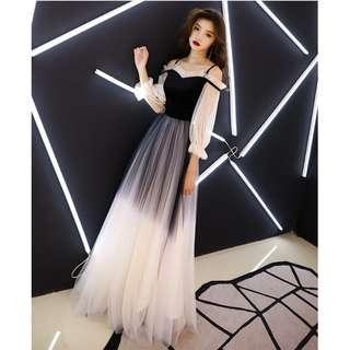 Gown Collection - Noble Vintage Style Long Sleeves Off Shoulder Black & White Gown