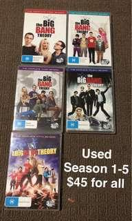 Big Bang Theory DVDs season 1 to 5