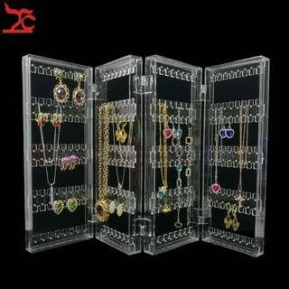 Convenient 4 fold earring holder acrylic clear
