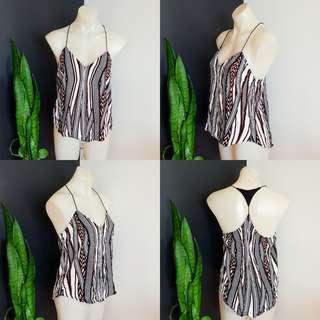 Women's size 10 'BARDOT' Stunning black, white and orange tribal print top - AS NEW