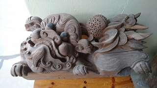 Rare Item! Pair of Chinese Lions Solid Wood Carving.
