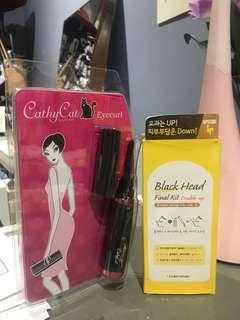 Electronic eyelash curler and Etude house black head removal kit