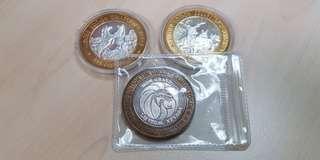 3 x Casino Limited Edition .999 Silver Token / Round