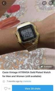 Casio Vintage A178WGA Gold Plated Watch for Men and Women