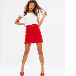 NOBODY DENIM RED Denim Piper Skirt RRP $159