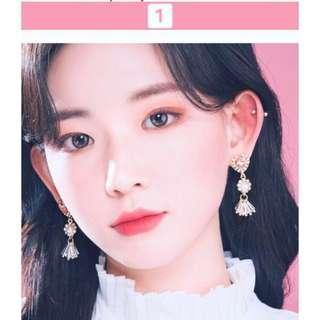 korea heart bling earrings