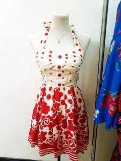 Polka red sexy dress