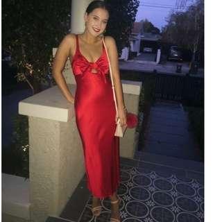 NEW Shona Joy Adonis Tie Front Bias Midi Slip Dress Ruby Red Size AU 10 RRP $260