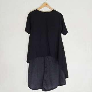 Black Long Back Shirts Tops Dress Type Long Back Tshirt for Large Frame
