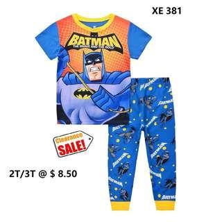 Clearance----Batman Orange Short Sleeve Pyjamas  for  2T/3T